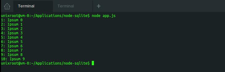 SQLite output