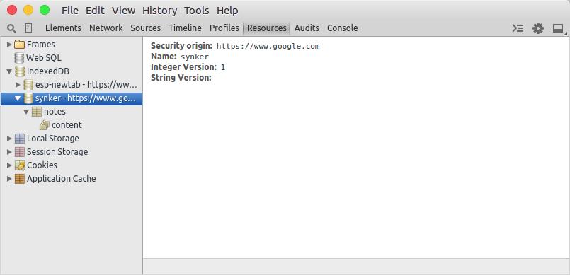 IndexedDB created.