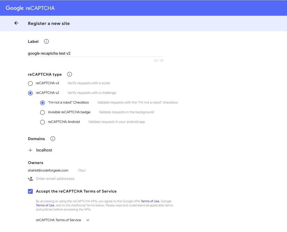 google recaptcha v2 create app