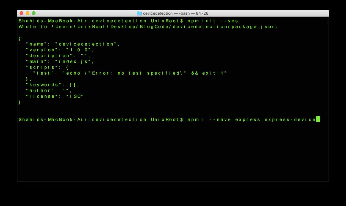 Node.js device detection