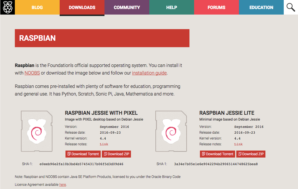 Raspbian official website