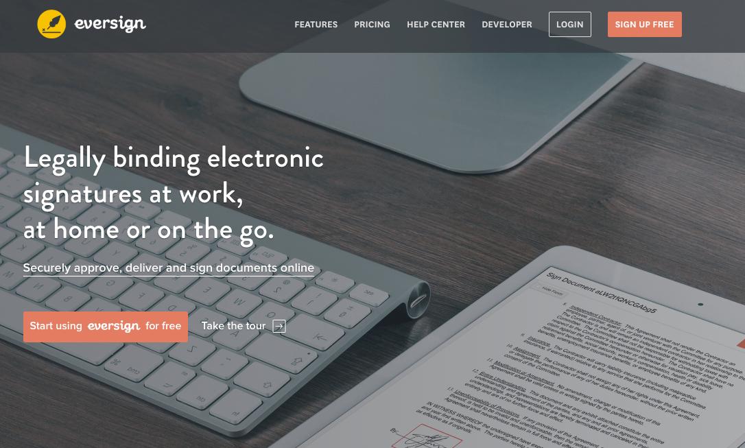 Eversign homepage