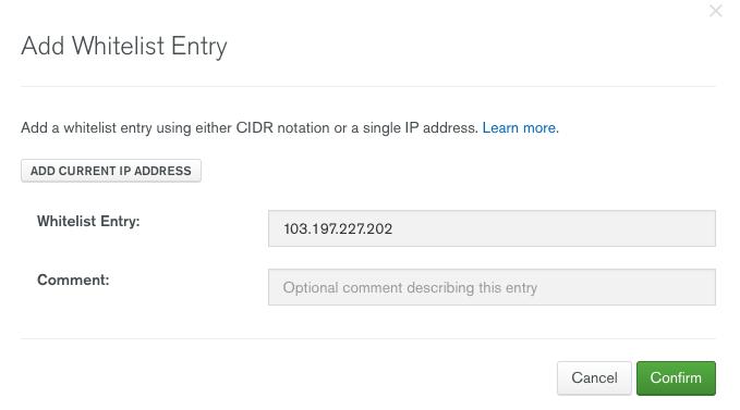MongoDB Atlas IP Whitelisting