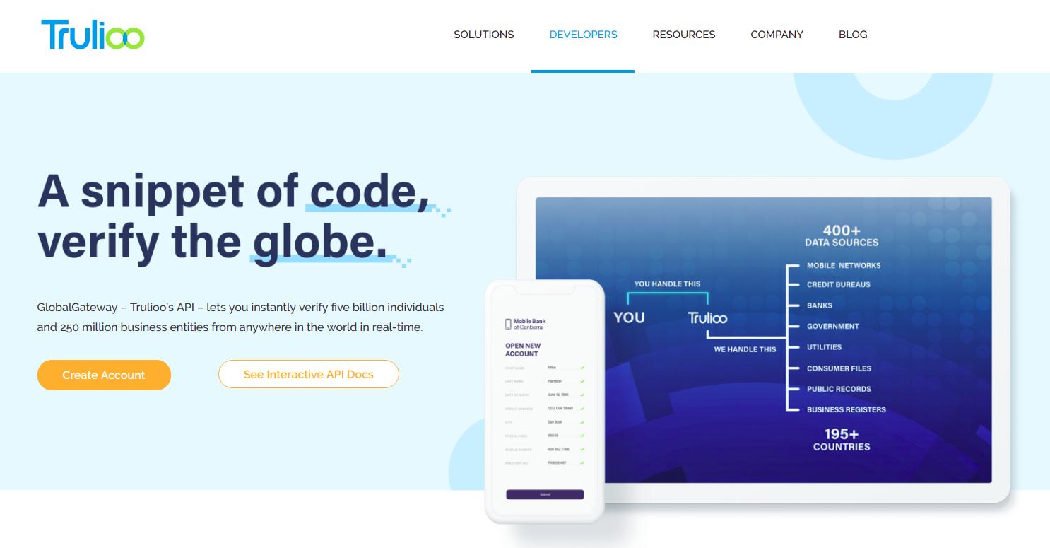 Trulioo developer page