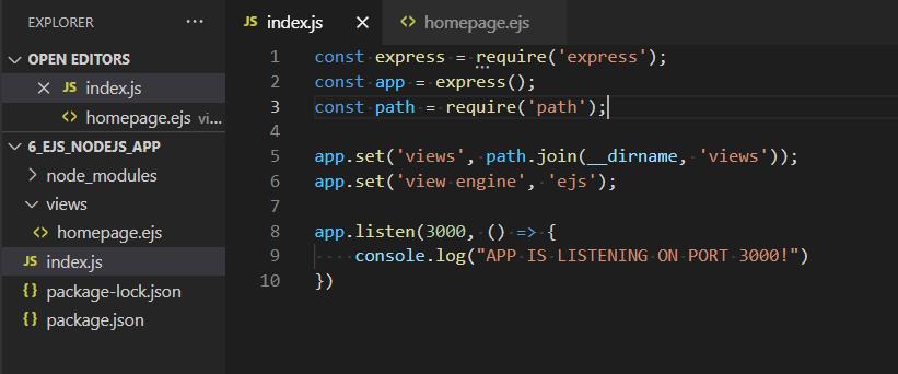 Ejs Template Engine In Nodejs File Structure
