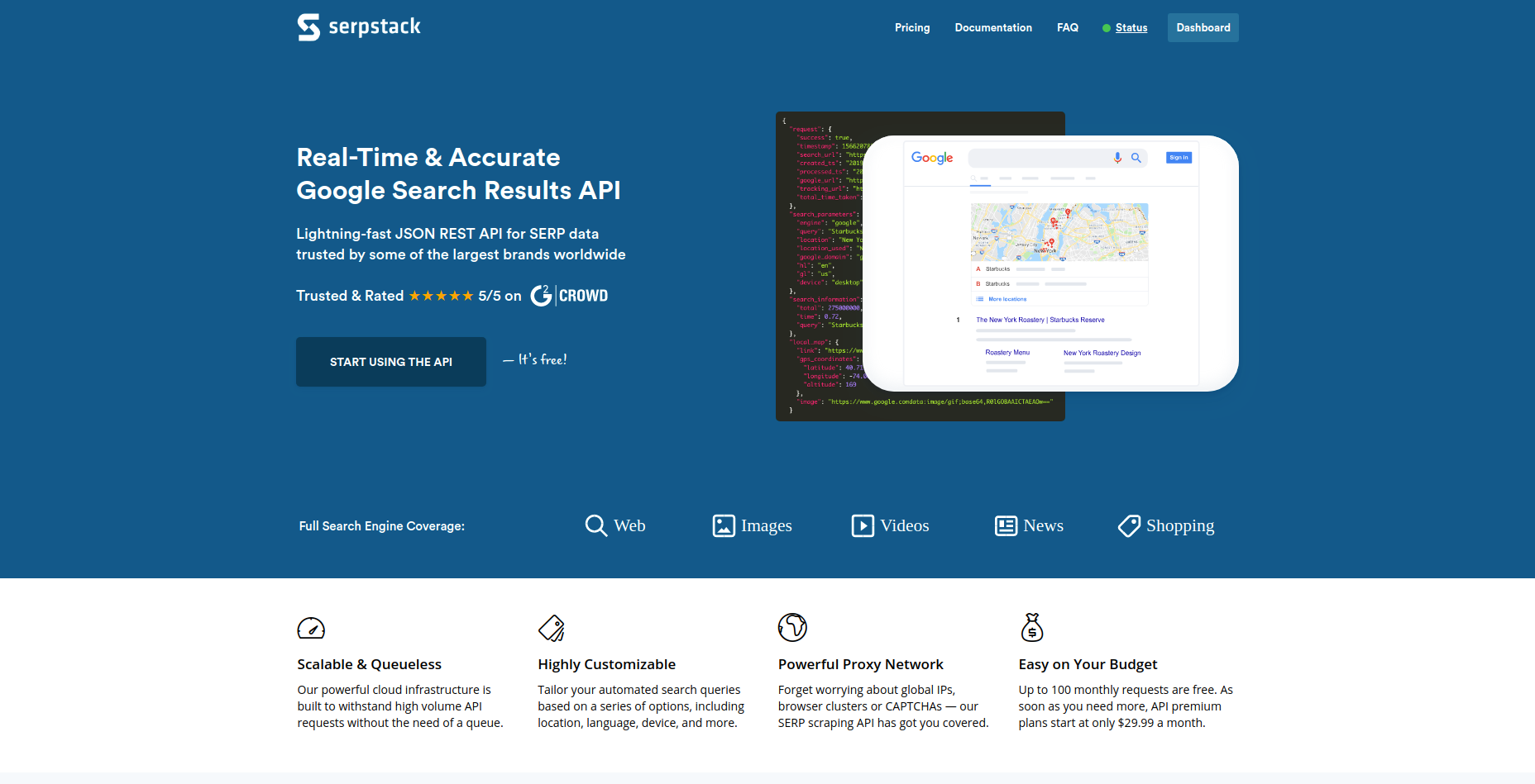SERP Stack homepage