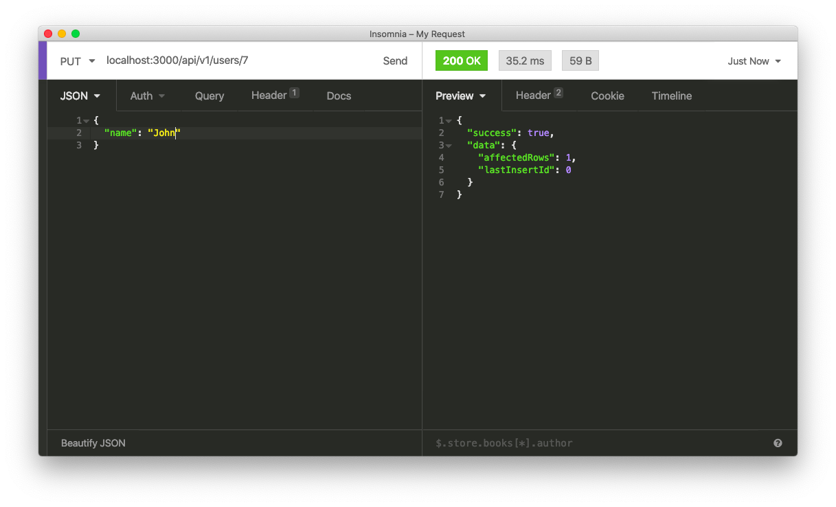Deno API Server - PUT route