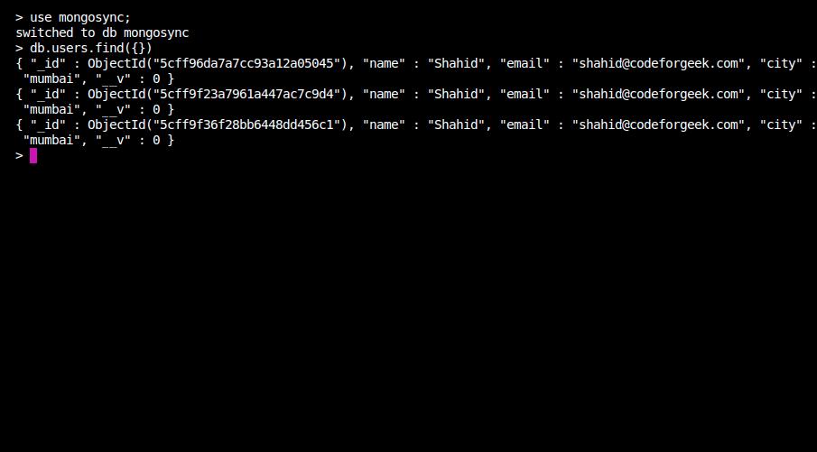 check data in mongo