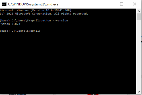 command prompt for python