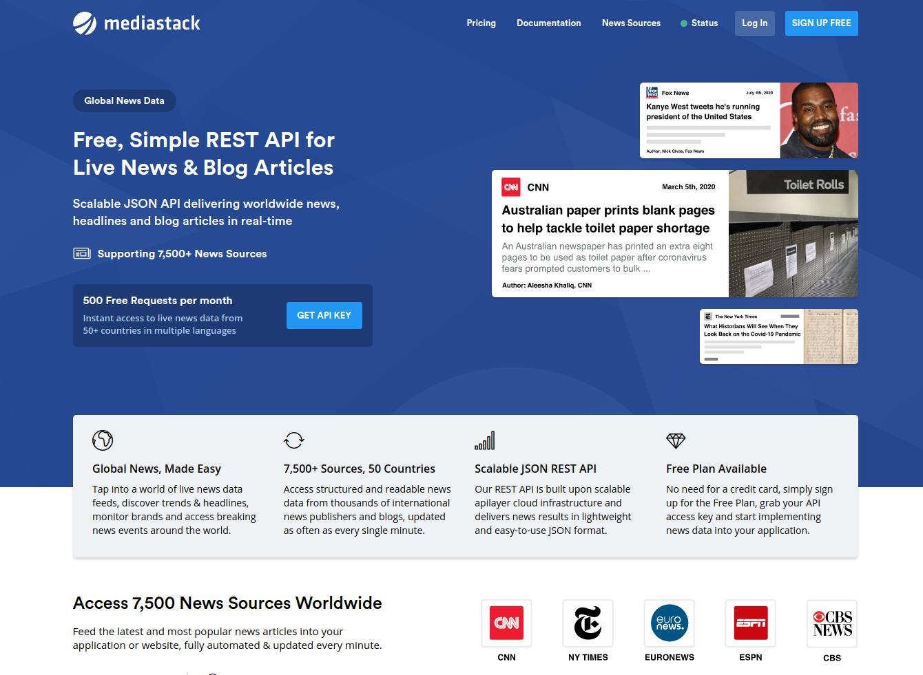 mediastack homepage