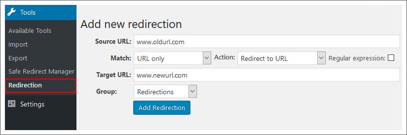 redirection-plugin-wordpress-dashboard