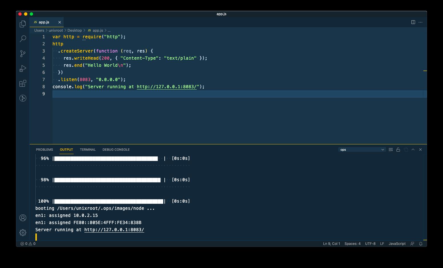run ops in vscode