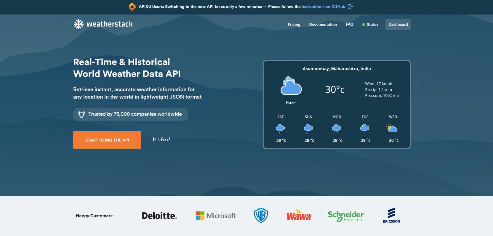 weatherstack homepage